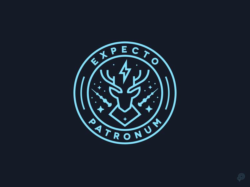 Expecto Patronum brand magic deer badge harrypotter logo design icons 2d line lines monochrome icon lineart illustration
