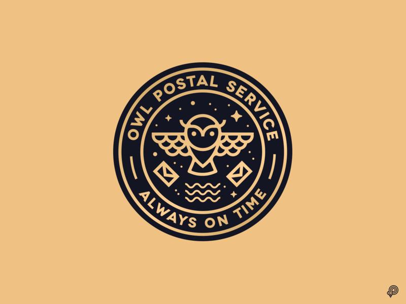 Owl Postal Service harry potter harrypotter badgedesign badge logodesign logotype owl vector logo design icons 2d line lines monochrome icon lineart illustration