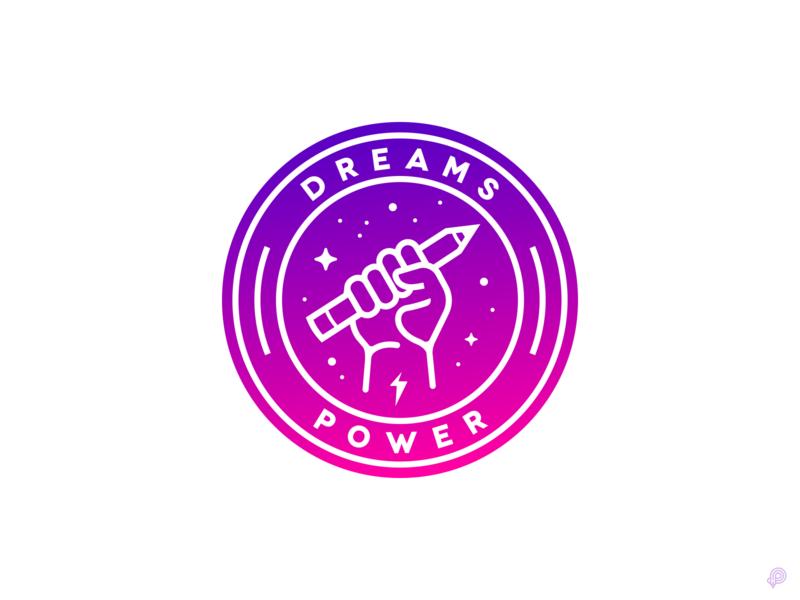 Dreams Power badge logo badge branding design brand identity brand pencil hand logos logotype logo design branding logo vector design icons 2d icon lineart illustration