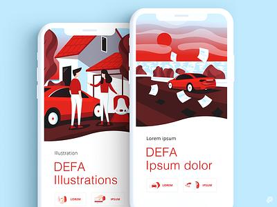 DEFA electric car charger car design 2d icon illustration