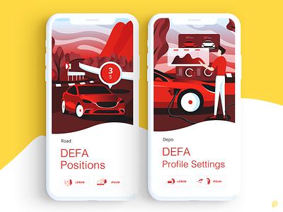 DEFA profile settings electriccar charger road depo service car 2d icon illustration