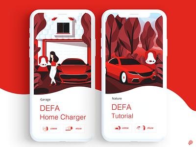 DEFA electriccar carcharger car vector design icons icon illustration