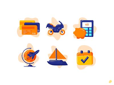 Bank icons travel money save bank card boat procreate 2d design bank icon illustration