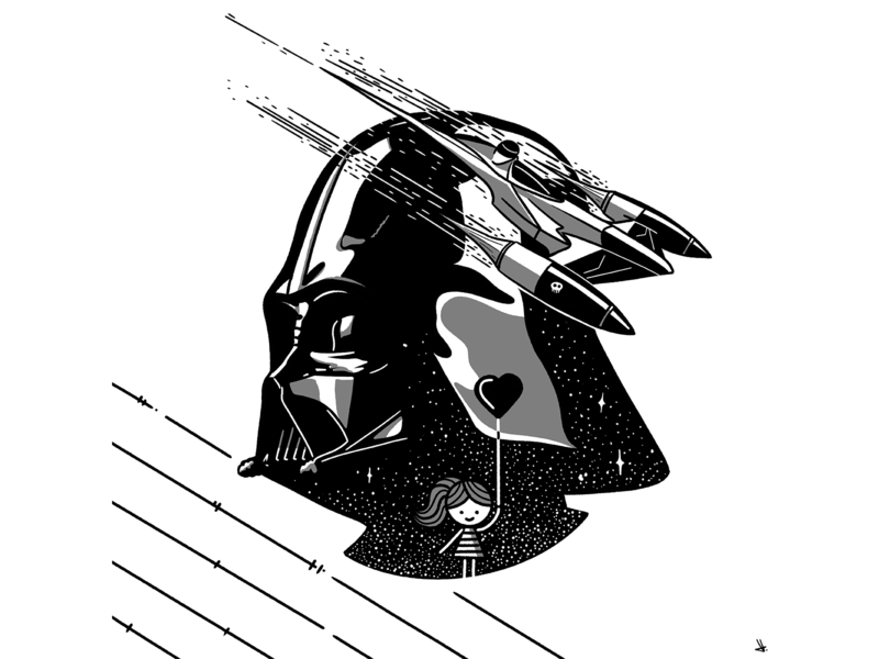 Illy & Filly - Vader darth vader darthvader starwars girl monochrome lineart illustration