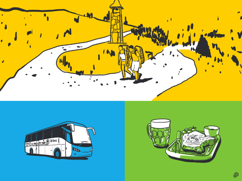 Route tourism people mountain route food beer bus handdraw linen art girl boy icons line lines monochrome icon lineart illustration