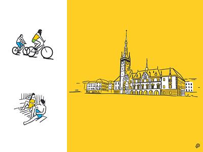 Olomouc olomouc townsquare tower wellness bicycle website illustration art girl design icons line lines monochrome icon lineart illustration