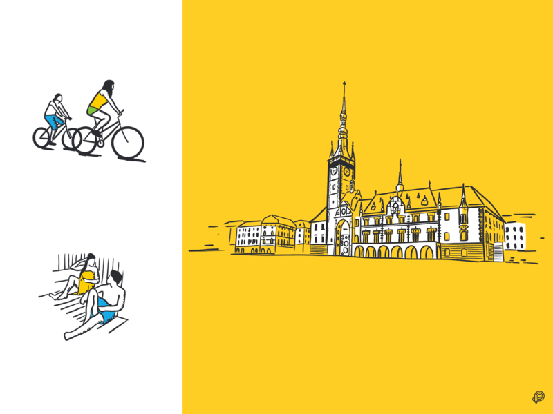 Olomouc olomouc townsquare tower wellness bicycle website illustration art girl design icons line lines monochrome icon lineart illustration