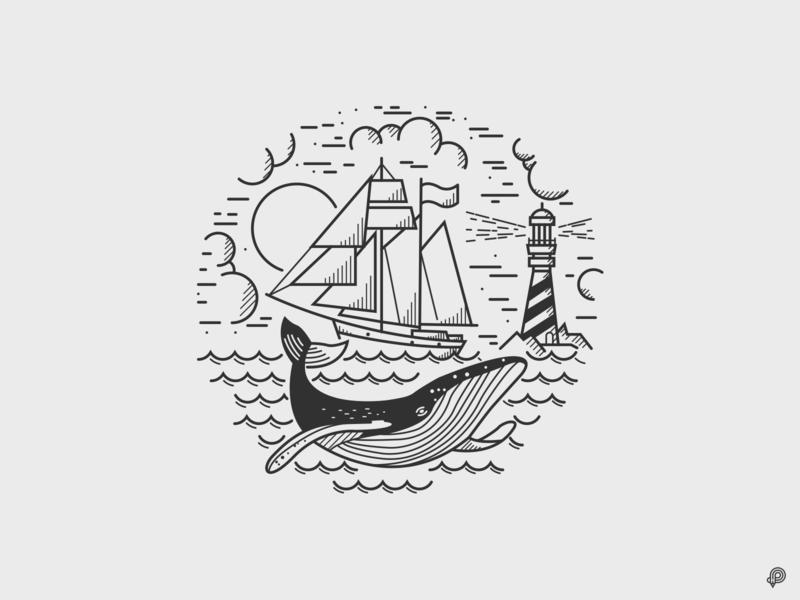 Whale travel ocean ship whale vector linen design icons line lines monochrome icon lineart illustration