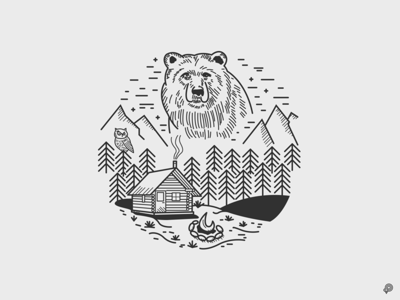 bear wood mountains nature bear handdraw linen art icons line lines monochrome icon lineart illustration