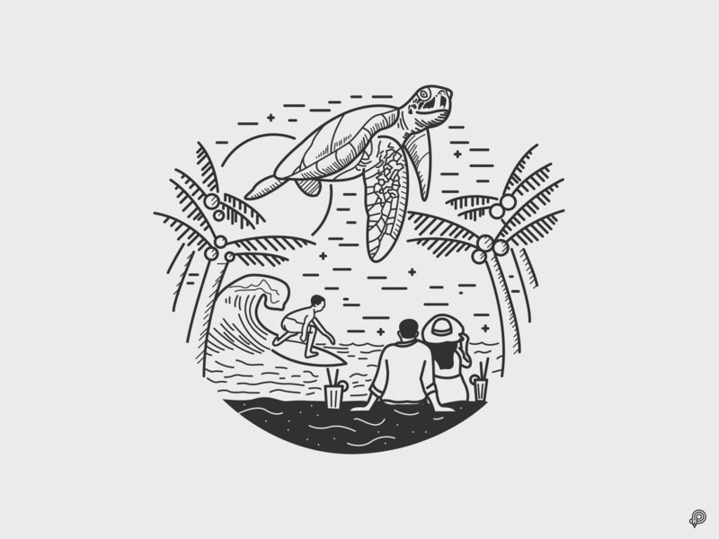 Turtle surf ocean couple beach turtle vector linen art design icons line monochrome icon lineart illustration