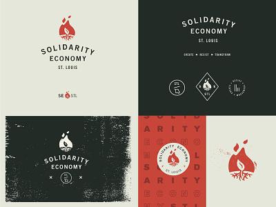 Solidarity Economy Identity System badge roots leaf flame identity logo