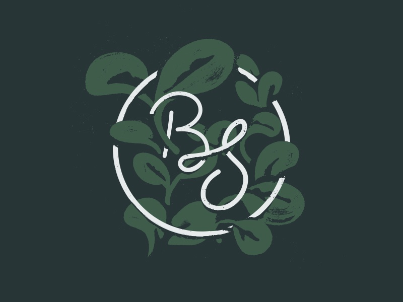 Unused BS texture leaves plants microgreens sprouts script s b lettering logo