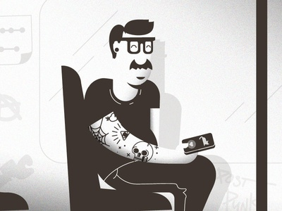Post Punk subway dad father punk transit public mustache spectacles cats tattoo illustration