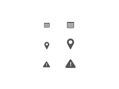 Icons calendar location warning grey