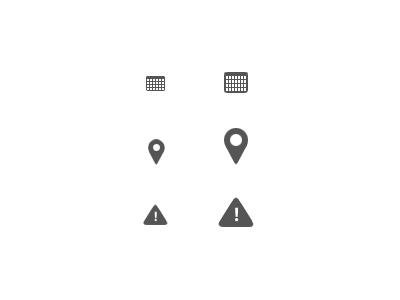 Icons Update icons calendar location warning grey
