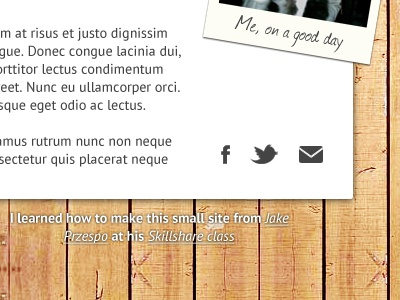 Mini Site skillshare wood icons mini-site
