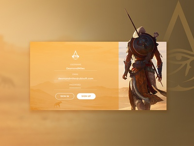 Daily UI Challenge # 01 - Assassin's Creed Origins Sign-up form
