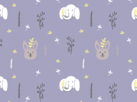 Bunny and elephant Illustration Pattern