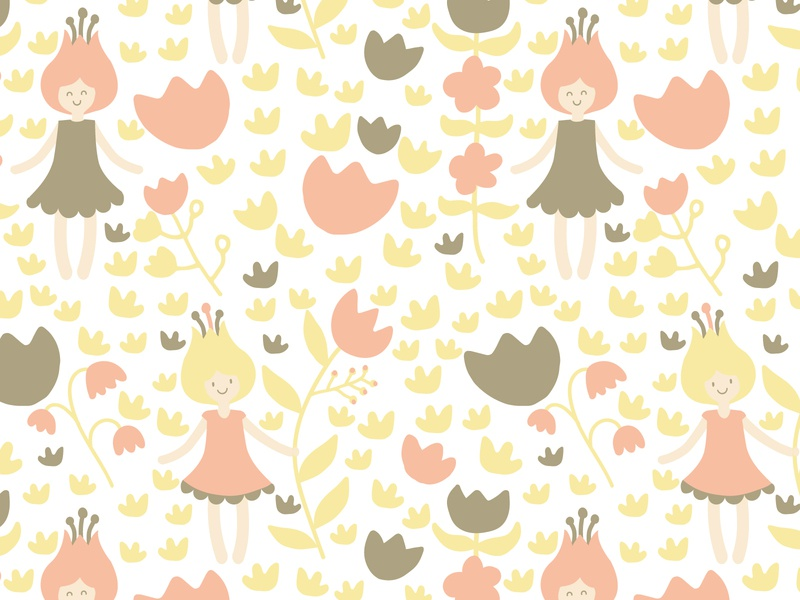 Flower Girl Power Illustration Pattern flower girl cute pattern kids dress pretty mustard colorful cute spring flower pattern flowery fabric design