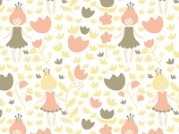 Flower Girl Power Illustration Pattern