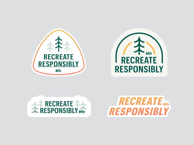 REI Stickers: Recreate Responsibly giphy stickers badge pine tree outside