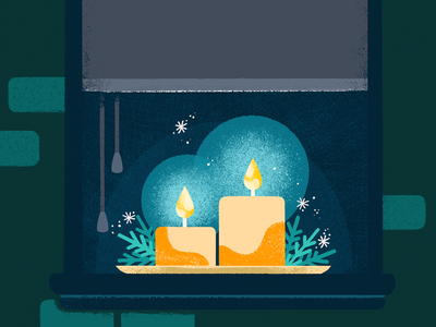 Holiday candles sparkle snow silent christmas windowsill window giftcard ecard candle holiday