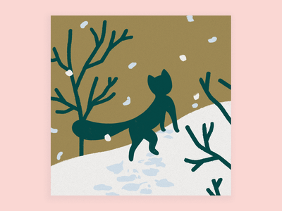 Kitty in the snow new year stationary black fall trees snow cat holiday card holiday