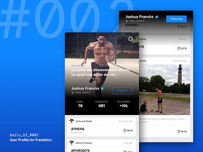 Daily UI Challenge #002 — User Profile for Freeletics daily ui running freeletics sport sketch interface download free freebie digital app