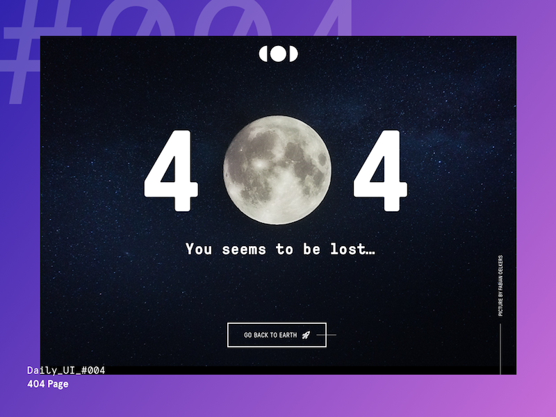 Daily UI Challenge #004 — 404 Page