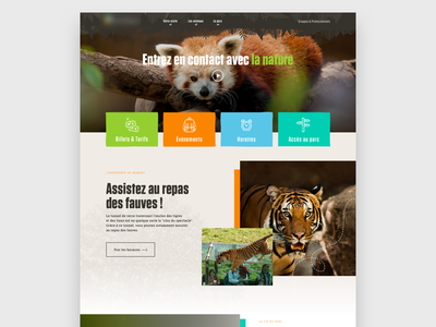 Homemage for a Zoo tickets tiger event sketch homepage animals zoo