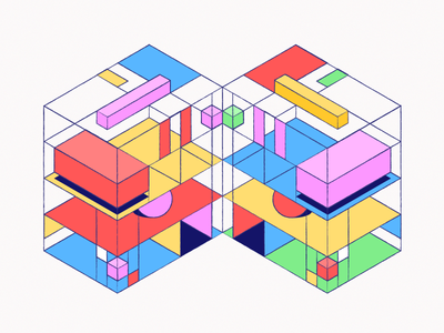 Isometric Pattern 3d isometric shapes abstract illustration art pattern