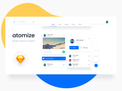 Atomize Design System icons typography ui design framework dashboard web sketch style guide menu avatar atomic design