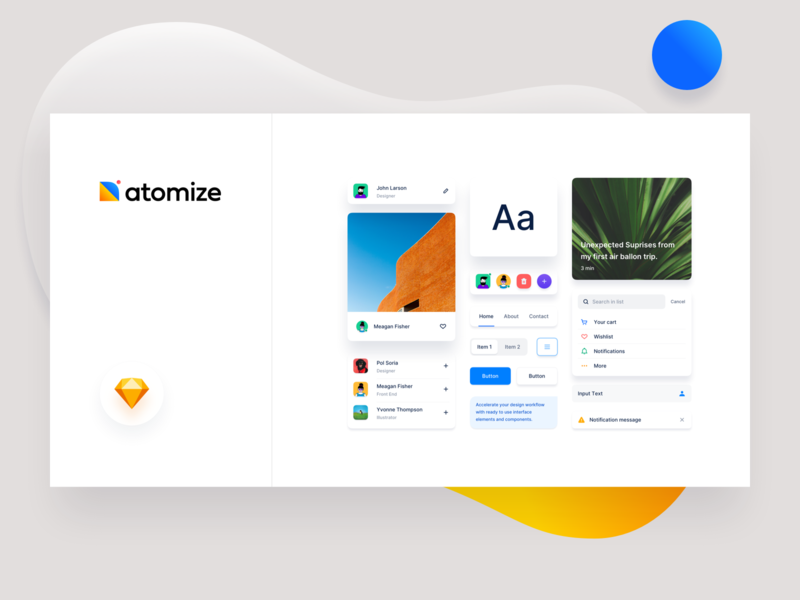 Atomize 4.0 - Light Theme web design typography minimal icon abstract ux design system branding framework ui design sketch atomize