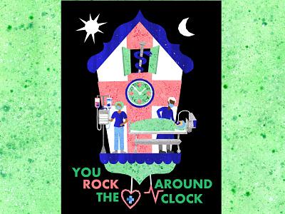 You ROCK Around the Clock! coronavirus corona healthcare hospitals medicine nurses doctors medical care nhs cuckoo clock illustration design illustrations illustration art illustration
