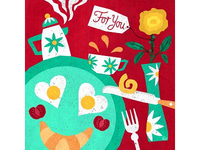For You food illustration yummy delicious coffee tea flower breakfast love food illustration design illustrations illustration art illustration