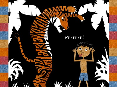 Shere Khan mowgli boy tiger rudyard kipling jungle book fairy tale illustration