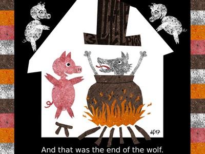 Three Little Pigs chin blowing wolf house pigs fairy tale illustration