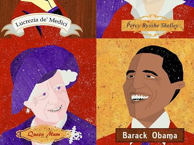 August 4th portraits lucrezia shelley queen mum obama birthdays illustration