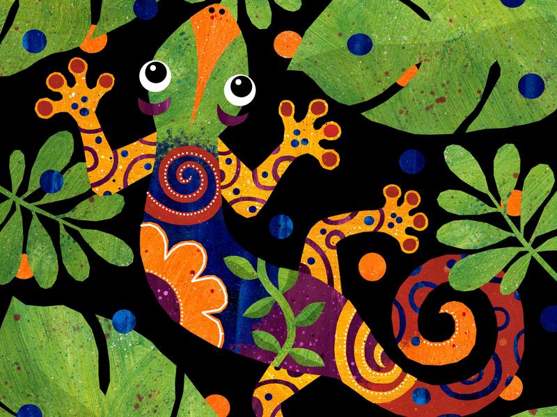 Indigo Gecko beauty leaves patterns swirls colourful jungle gecko illustration