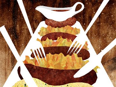 Clifton Sausage bristol clifton gravy sausages sausage food illustration food illustration art illustration