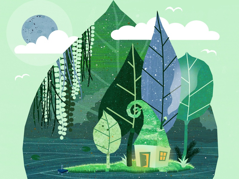 Lake Calm, upper half trees forest island peaceful calm breathe house leaves leaf illustration art illustrations illustration