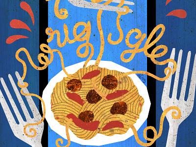 Wriggle app forks eat eating meatballs pasta noodles food illustration design illustration art illustrations illustration