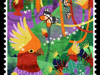 Stamp 2: Tropical flowers birds tropical butterflies parrot forest jungle illustration design illustrator illustrations illustration art illustration