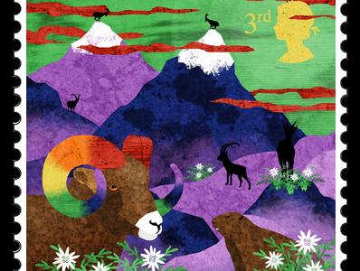 Stamp 3: Mountains moufflon marmot mountain alpes mountains stamps illustration design illustrator illustrations illustration art illustration