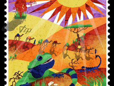 Stamp 4: Desert sahara africa caravan scorpion camels sweating dunes reptile agama hot sun desert illustration design illustrator illustrations illustration art illustration