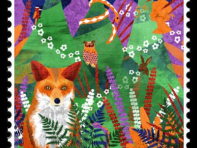 Stamp 5: Forest snake flowers trees fir tree pine tree europe hare woodpecker owl fox forest illustration design illustrator illustrations illustration art illustration