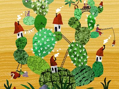 Cactus City collage cute houses plants cactus illustration digital illustration design illustration art illustrations illustration