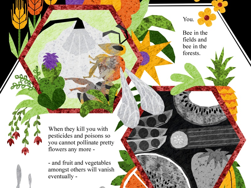 To Bee or Not to Bee environmental design environment pollinating climate change honey food bees bee illustration design illustration art illustrations illustration
