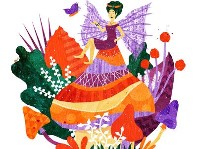 Mushroom Fairy mythical creature. beast childrens fairy tales mushroom fairy illustration design fairy tale mythology green illustrations illustration art illustration