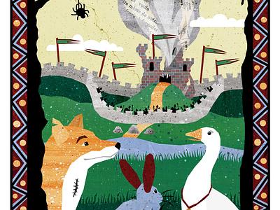 FolktaleWeek: Home castle rabbit goose fox illustration design fairy tale mythology childrens illustrations illustration art illustration
